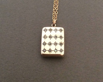 Antique Edwardian Seed Pearl Stars Locket Necklace