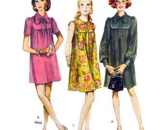 70's Style 2810 Maternity Dress in Two Lengths with High Round Neckline, Dog Ear Collar and Sleeve Variations Sewing Pattern Size 12