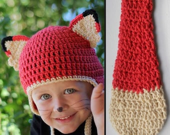 Kids Red Fox Halloween Costume Crochet Earflap Hat and Tail Set - Childrens Accessories by Julian Bean