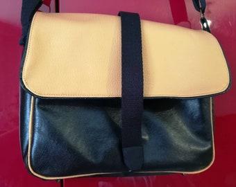 Black PU leather and gold Interior black satin shoulder bag