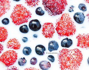 Feel the summer Berries Food photography 5x7 inches fine art photo print Strawberries huckleberries milk healthy lifestyle Kitchen art