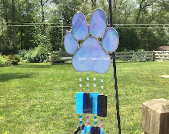 Paw Print Glass Wind Chime Stained Glass Pet Memorial