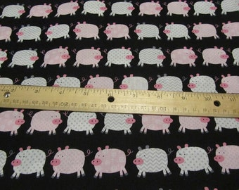 Black with Pink/White Chevron and Dotted Pig Cotton Fabric By the Yard