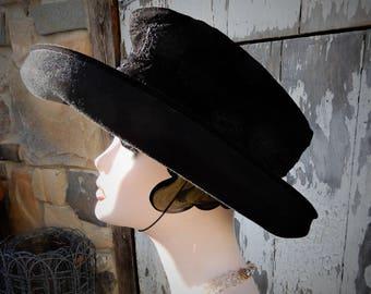"Stylish Vtg Eric Javits Black Felted Textured Wool Bolero Chin Strap Hat sz M 21 1/2"""