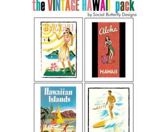 Vintage Hawaii Note Card Set - Hawaii Art Cards - Set of 8 Blank Note Cards - Aloha Cards - Mahalo Cards - Hawaiian Island Note Cards