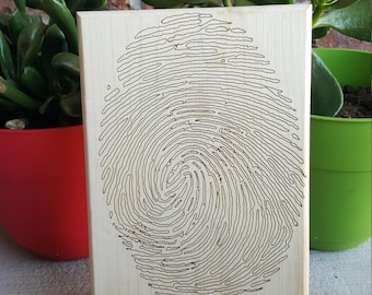 Wood Engraved Fingerprint Keepsake