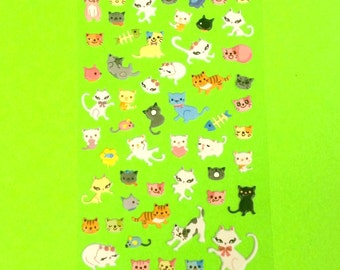 Kitty Meow Cat Kitten Adorable Animal Cute Super Kawaii Kitschy Kyuuto Puffy Vinyl Sticker Set