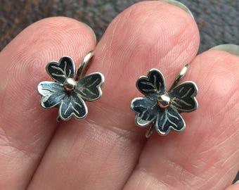 Antique Art Deco Sterling Silver Flower Black Enamel Very Small Earrings