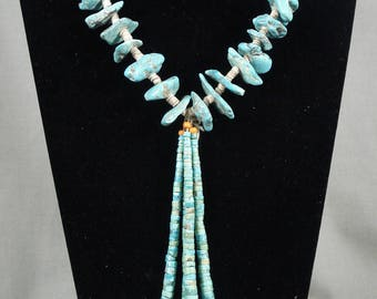 Earlier 1900's Vintage Navajo Turquoise Necklace Old