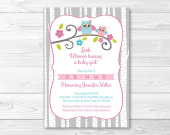 Cute Pink Owl Baby Shower Invitation / Owl Baby Shower Invite / Woodland Baby Shower / Baby Girl Shower / PRINTABLE