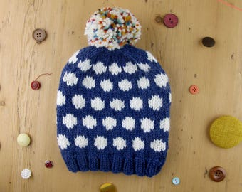 Knit the Sprinkled Snow Hat   Chunky wool   Easy and fun to make   Pompom beanie – KNITTING PATTERN