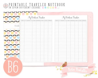 B6 Workout Tracker Traveler Notebook Refill. Small Printable TN PDF Download for Personal Use. Fitness Log, Routine Daily Exercise Inserts