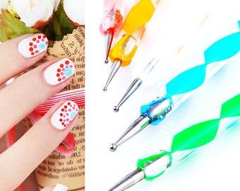 Nail Art Dotting Tools 5 Double Sided Pen Set Nail Decals DIY Nail Decoration Pens