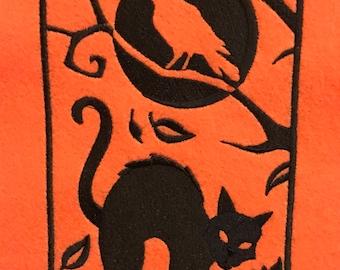 Halloween Cat Banner, Halloween Door Hanger, Wall Hanging
