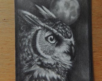 ACEO Traditional Art Owl Bird Realistic Pencil Drawing