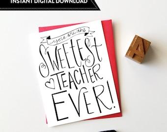 Teacher Appreciation Card, Teacher Thank You, Thank You Card, Teacher Thank You Download, Greeting Card, INSTANT DIGITAL DOWNLOAD