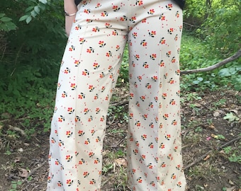 "70s ""Misty Roses"" Bellbottom Pants"
