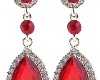 Red wedding earrings Etsy
