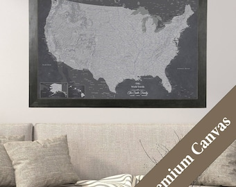 CANVAS Personalized Stormy Dreams USA Travel Map - Push Pin Travel Map - Canvas United States Map - Map Your Travels - Personalized Gift