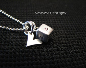 Dainty 4-Sided Sterling Silver Block Handstamped Necklace with Heart Accent