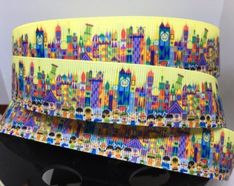 1 yard 1 inch Disneyland Its a Small World Grosgrain Ribbon - Disney Bow Making Ribbon - IASW Children of the world Mary Blair