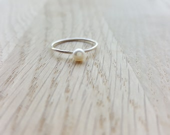 Pearl Ring Sterling Silver, Natural Pearl 4mm