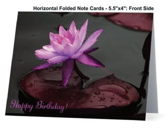 Happy Birthday Lily, Lotus Card, Folded Horizontal Note Cards, Photo Note Cards, Wildflower Photo Note Card, Floral Card, Stationary