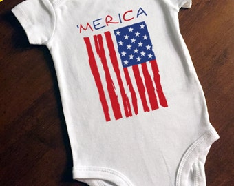 4th of July Red White and Blue 'Merica (America flag) Onesie/Bodysuit