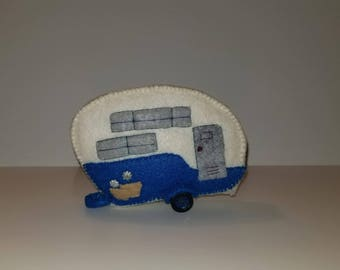 White and blue camper