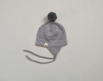 Pom pom hat in baby alpaca wool knitted cap baby with pom pom baby hat with earflaps grey knit gray brown white cap knitted wool baby cap