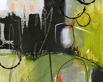 """Abstract Mixed Media Painting, greens, black art, """"Coddiwomple 1"""" by Kathy Morton Stanion EBSQ"""