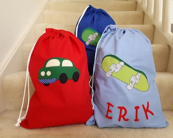 Boys Personalised Appliqued Library Bag / Book Bag / Toy Bag - Various Designs Available -