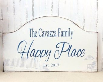 Personalized sign, Happy Place,  snowbird retirement getaway, beach house sign, custom sign, realtor gift, lake house