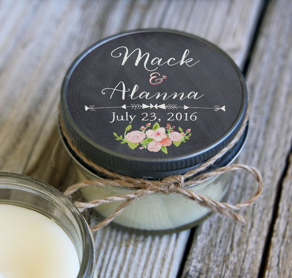 Set of 12 - 4 oz Candle Wedding Favor - Soy - Personalized Wedding Favors // Chalkboard & Pink Floral Wedding Favors