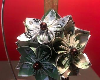 "Handmade ""Tractors"" Kusudama Flower Christmas Ornament"
