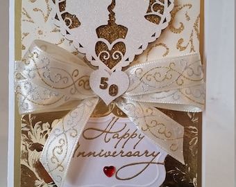 Beautifully Handcrafted 50th Anniversary Greeting Card