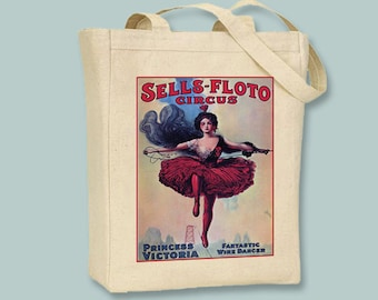 Sells-Floto Circus Winre Dancer Tightrope Walker Poster BLACK or NATURAL canvas tote, selection of sizes