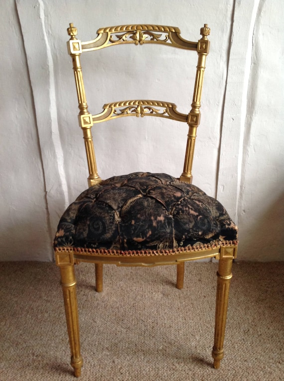 - Antique French Chair Neo Classic Vintage Salon Chair Black