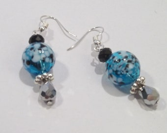 Blown Glass Balls with Silver Teardrop Crystal Earrings
