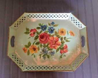 Vintage Metal Hand Painted Floral Cottage Chic Tray by E T Nash Co. Large Green Metal Tray with Handles