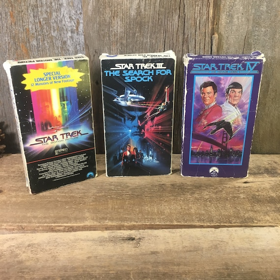 Vintage VHS Star Trek Movies, set of three Star Trek VHS movies, 1980's Star Trek VHS movies,Star Trek the Original,The Search for Spock