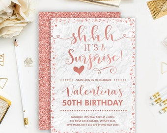 Rose Gold Glitter Surprise Birthday Invitation. Marble Birthday Party Printable. 30th 40th 50th Adult Woman Invite. ANY AGE. RG2