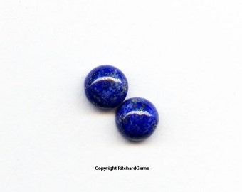Natural 5 mm Loose Round Cut .62 ct Blue Lapis Cabochons AAA For TWO