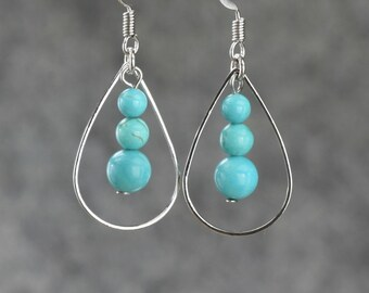 Turquoise earrings, Drop earrings, Hoop Earrings, Handmade jewelry, Personalized jewelry, Bridesmaids gifts, Free US Shipping