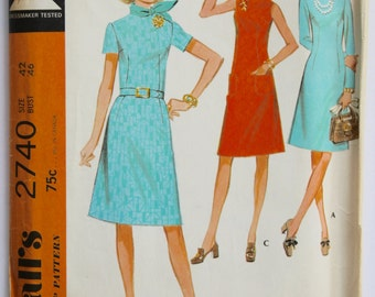 Vintage 1960s Women's Sleeveless/Short Sleeved/Long Sleeved A-Line Shift Dress Sewing Pattern Size 42 Bust 46 McCall's 2740