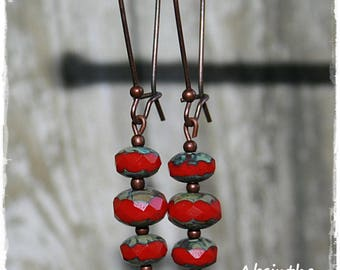 -Pierced earrings - red - summer Collection-
