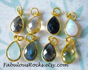 1-100 pcs / Gemstone Pendant Charm, TearDrop Tear Drop Bezel Charm Pendant / 14x8.25 mm, 24k Gold Vermeil or Sterling Silver /, gcp4 gp gdc