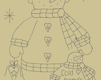 "Primitive Stitchery E-Pattern Snowman by Month February ""Cold hands, warm heart."""