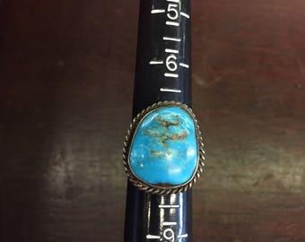 Large Stone Turquoise Ring Size 8