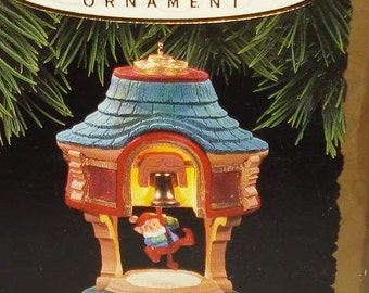 """Collectible 1993 Hallmark Keepsake Ornament~Magic (Light, Motion,Sound) features Elf Ringing Bell  """"BELLS are RINGING""""-NIB-Never displayed"""